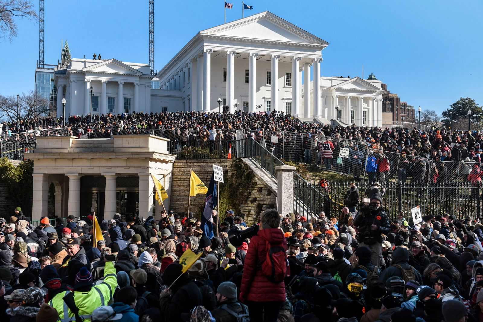 A large crowd gathers on a Gun Lobby Day in front of the Virginia State Capitol building in Richmond