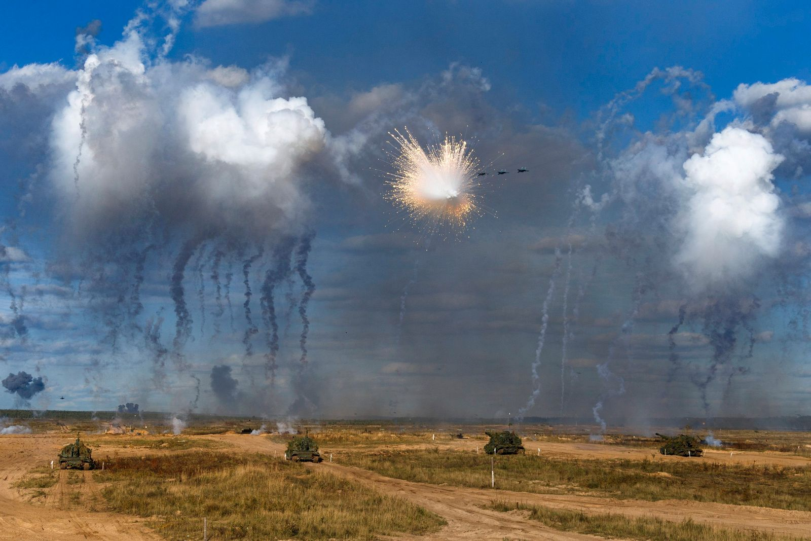 APTOPIX Russia Belarus Military Drills