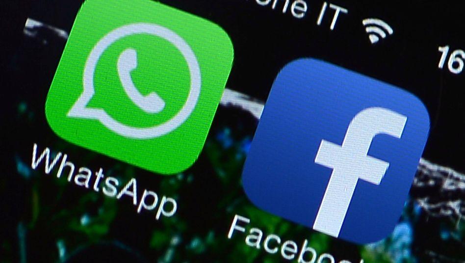 WhatsApp- und Facebook-Icons: Sorge um mangelnde Datensicherheit