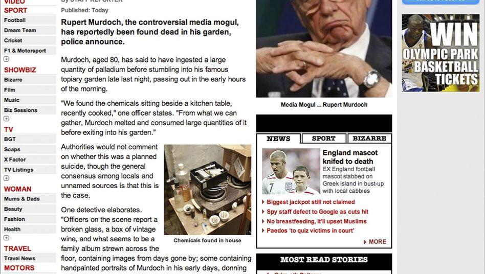 """Screenshot von der Falschmeldung bei """"The Sun"""": """"Leiche des Medienmoguls entdeckt"""""""