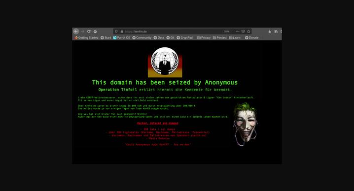 Dieses Defacement von KenFM veröffentlichte Anonymous: Der Begriff beschreibt die Ersetzung des »Gesichts« einer Website durch einen Inhalt, der zeigt, wer eine Seite per Hack übernommen hat.