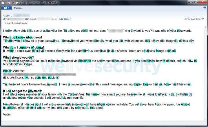 Die IT-Sicherheitsfirma Eset hat ein englischsprachiges Beispiel einer aktuellen Erpressungsmail veröffentlicht