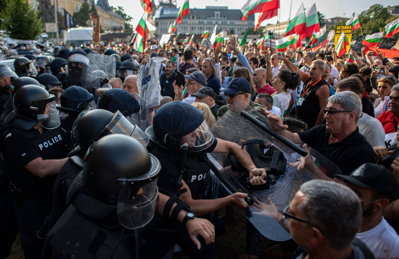 n anti-government protest in in Sofia., Bulgaria - 02 Sep 2020