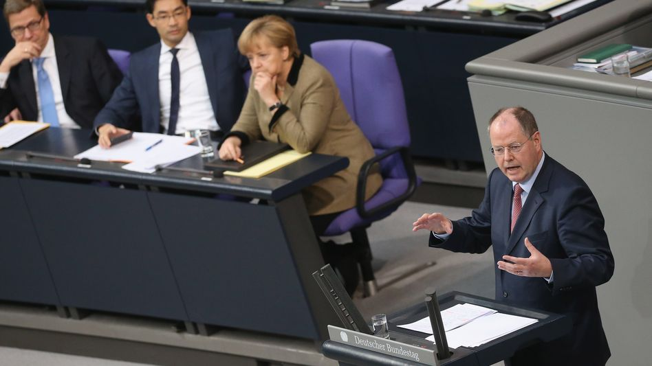 SPD chancellor candidate Peer Steinbrück: This is really the last time we'll support you.