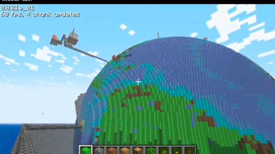 """""""Minecraft""""-Weltmodell: Globus aus Kästchen"""