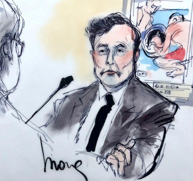 Gerichtszeichnung von Elon Musk