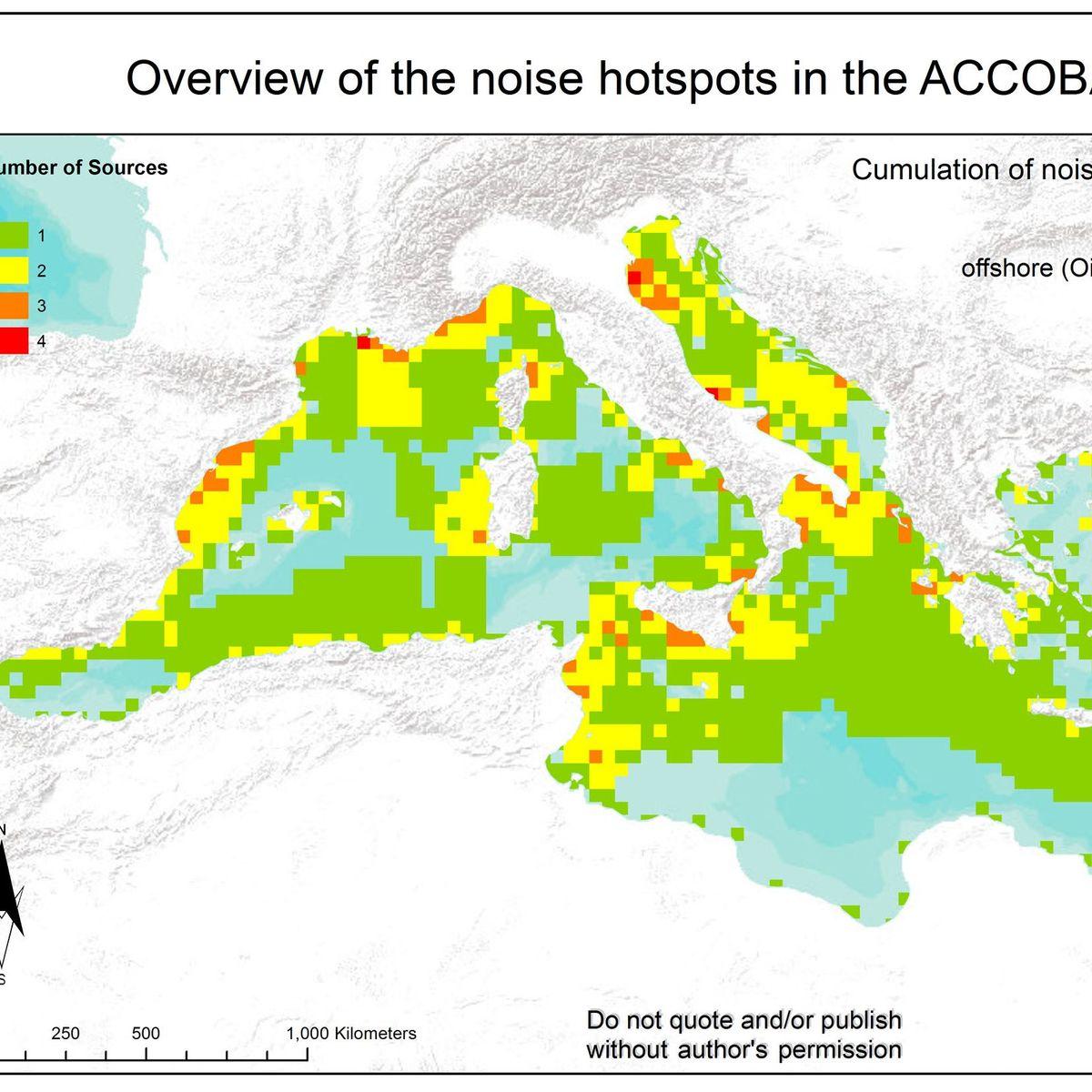 Mittelmeer Karte Zeigt Larmquellen Ungestorte Raume Immer