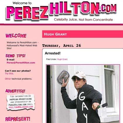 """Skandal-Blog Perezhilton.com: Hugh Grant bewirft einen Paparazzo mit einer Dose weißer Bohnen - das Gekritzel (""""schwul"""") ist die kreative Leistung des Bloggers"""