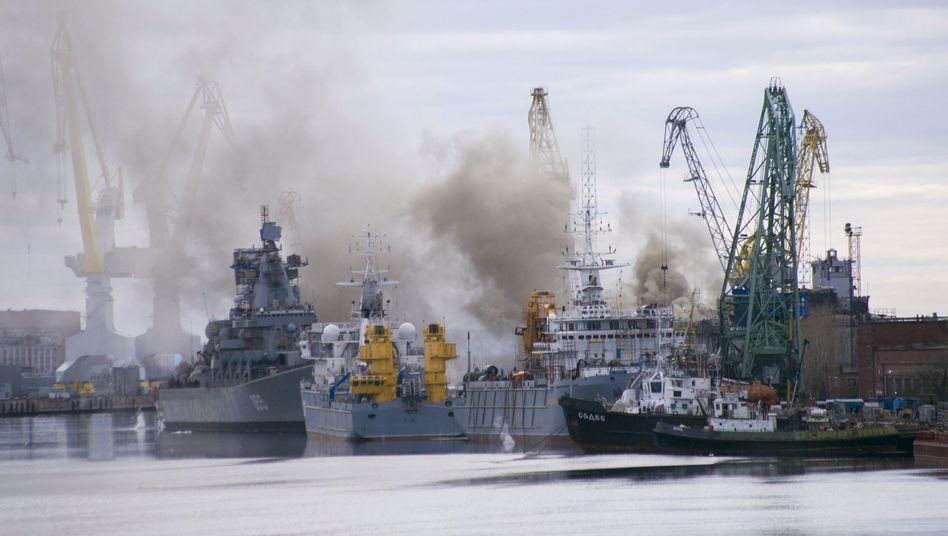 Der Hafen der russischen Stadt Sewerodwinsk - hier waren am 8. August erhöhte Strahlenwerte gemessen worden