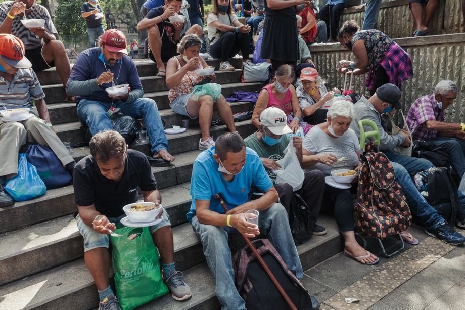 The number of people waiting for food at soup kitchens has tripled in some instances.