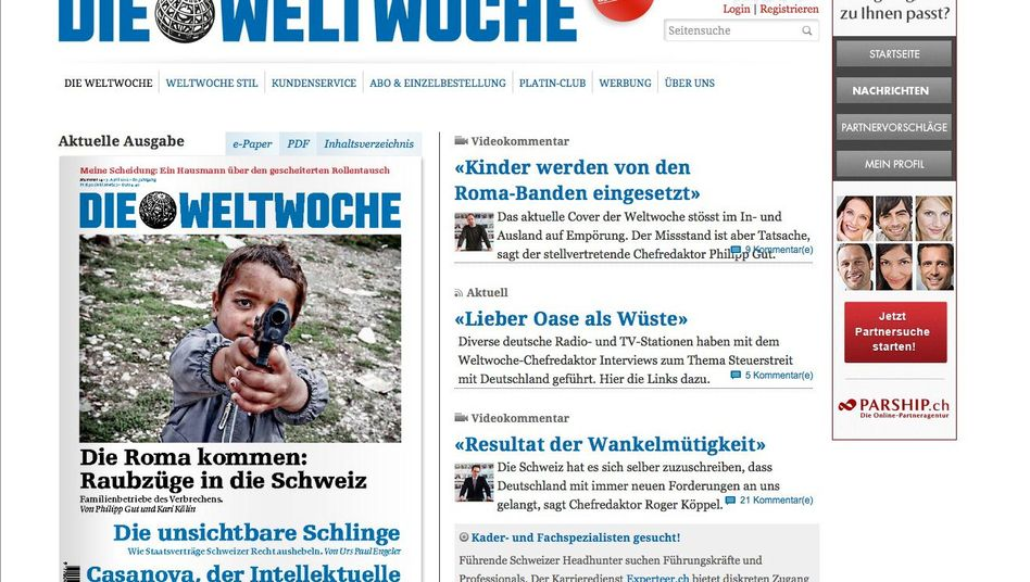 The cover is seen in a screenshot from the Weltwoche website.