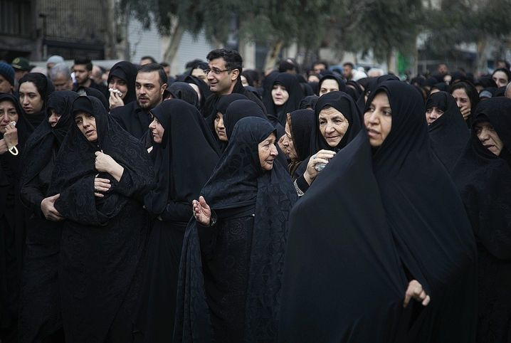 A funeral procession for the victims of the Jan. 8 plane crash in Tehran.