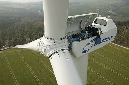 A wind farm near Halle: Germany is the world's leading exporter of environmentally friendly technologies.