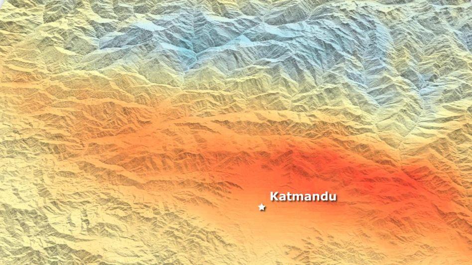 Bodenveränderung nach Erdbeben: Blau zeigt Senkung, Rot Hebung