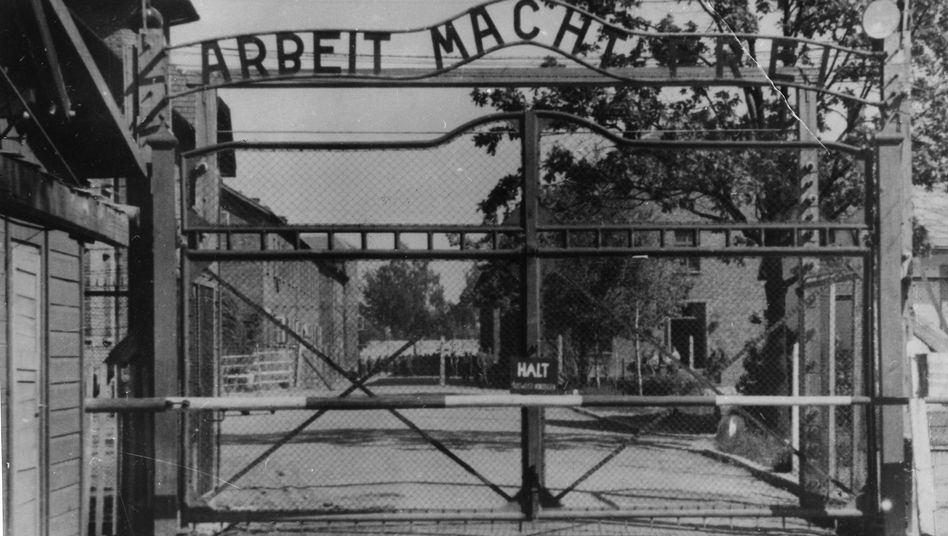 The main gate of the Nazi concentration camp Auschwitz I.