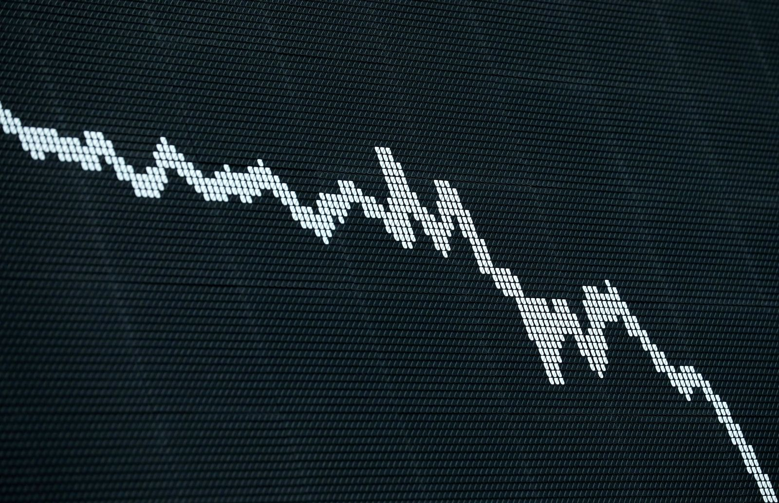 The German DAX Index graph is pictured during a trading session at Frankfurt's stock exchange in Frankfurt