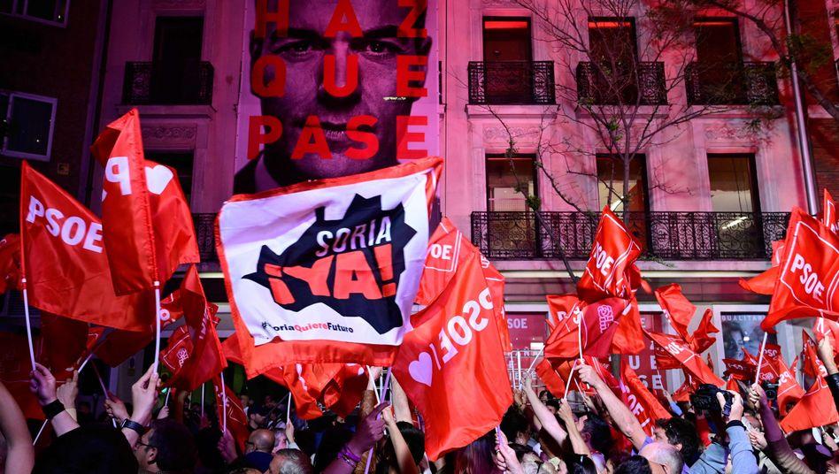 PSOE-Anhänger in der Wahlnacht