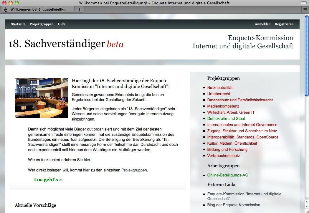 SCREENSHOT adhocracy / Netzwelt