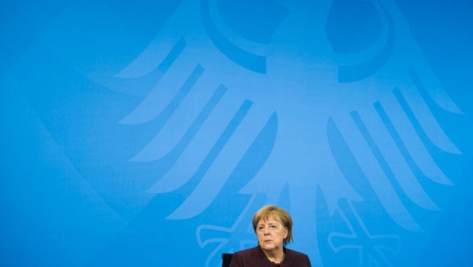 Kanzlerin Merkel nach der Corona-Runde mit den Ministerpräsidenten