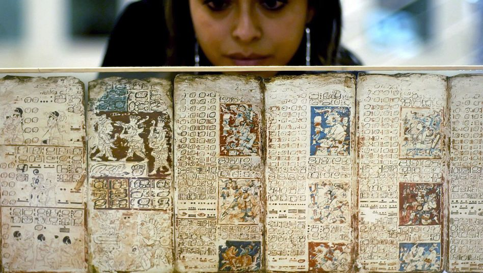 A copy of the Dresden Codex, the oldest known book written in the Americas.