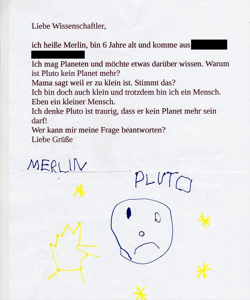 EINMALIGE VERWENDUNG Pluto/ New Horizons/ DLR-Planetenforscher/ Kinderbrief