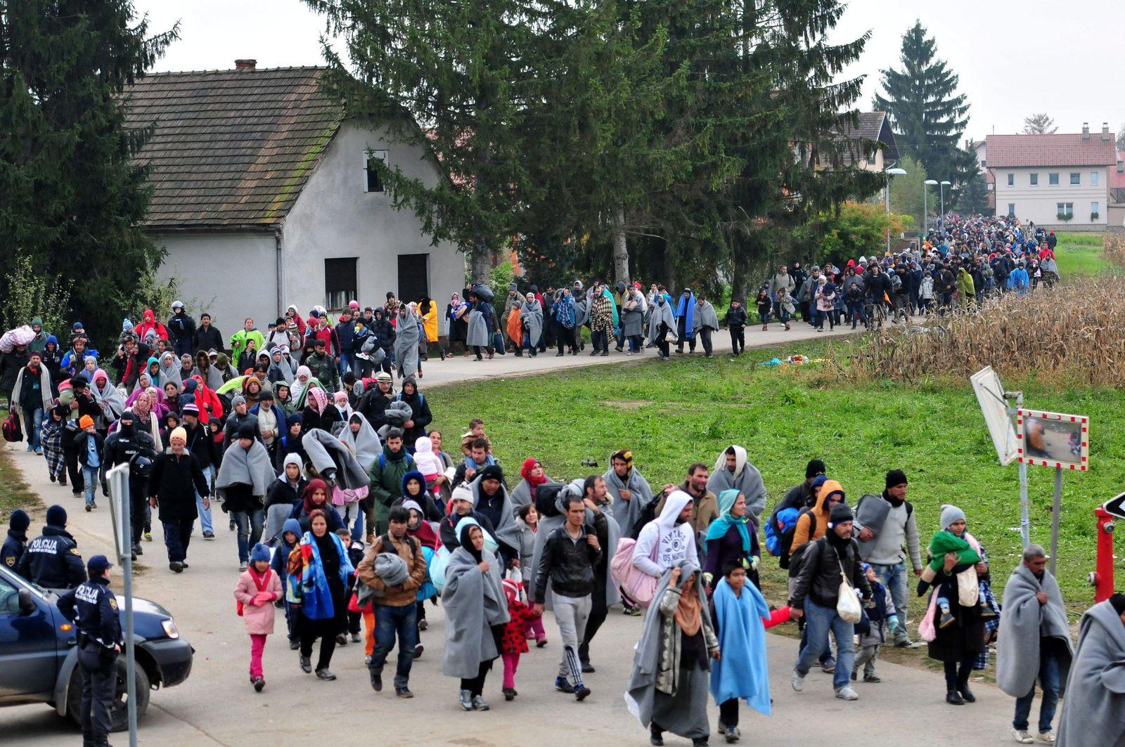 Flüchtlinge/ Rigonce/ Dobova/ Grenze/ Slowenien
