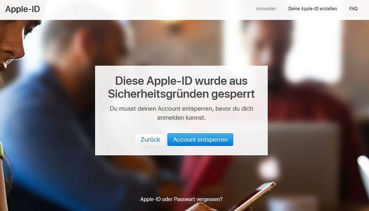 Benachrichtigung über gesperrte Apple-ID