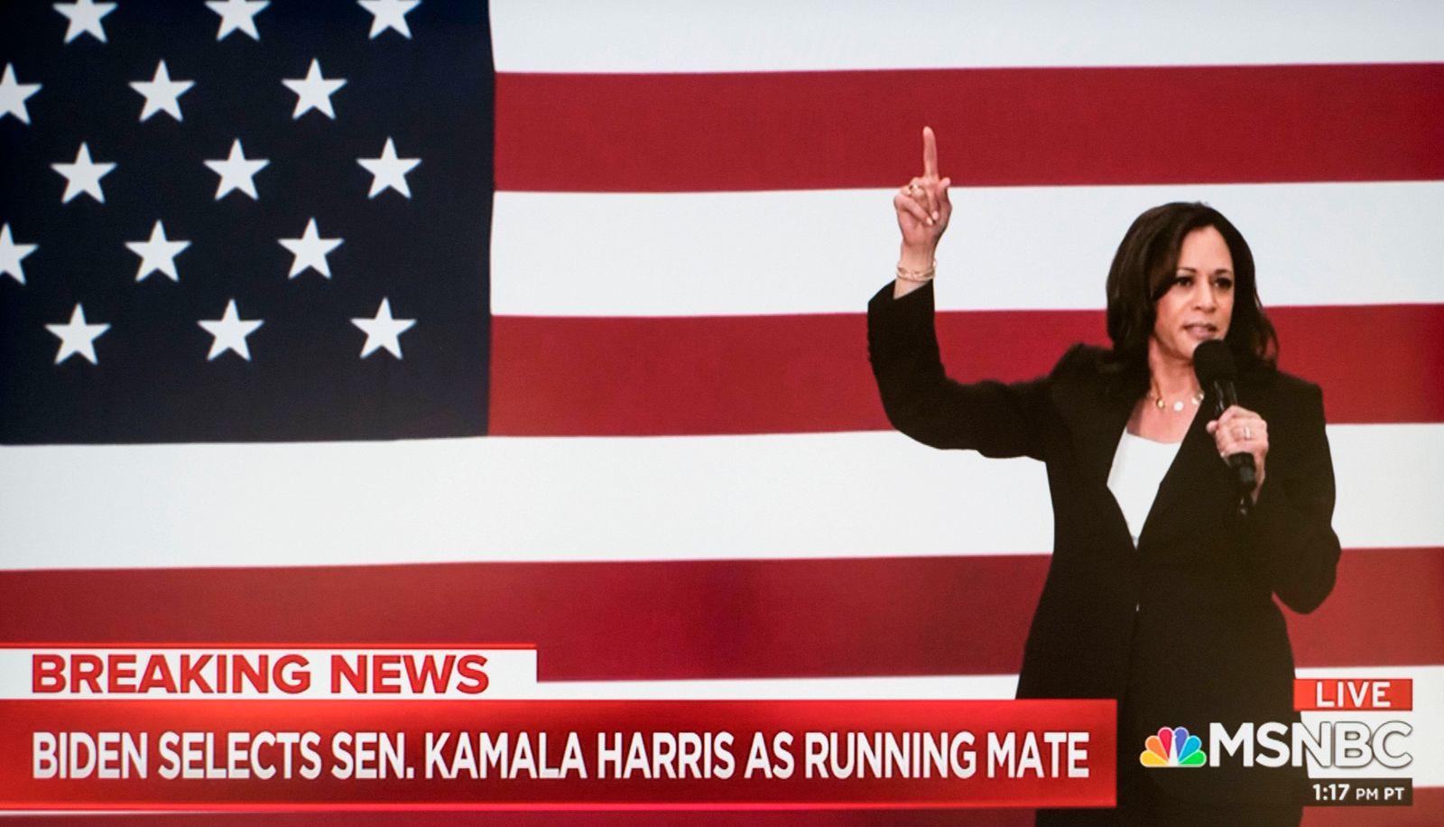August 11, 2020, Wilmington, Delaware, USA: A screen grab of the news report that JOE BIDEN has announced that Senator