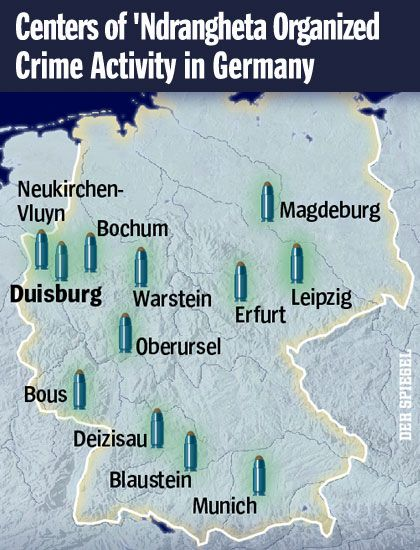 Graphic: Centers of 'Ndrangheta Activity in Germany