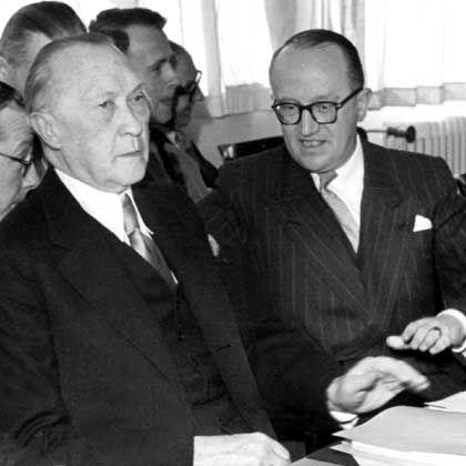 Konrad Adenauer und Walter Hallstein: Der Kanzler war von der Pedanterie des Juristen bisweilen genervt