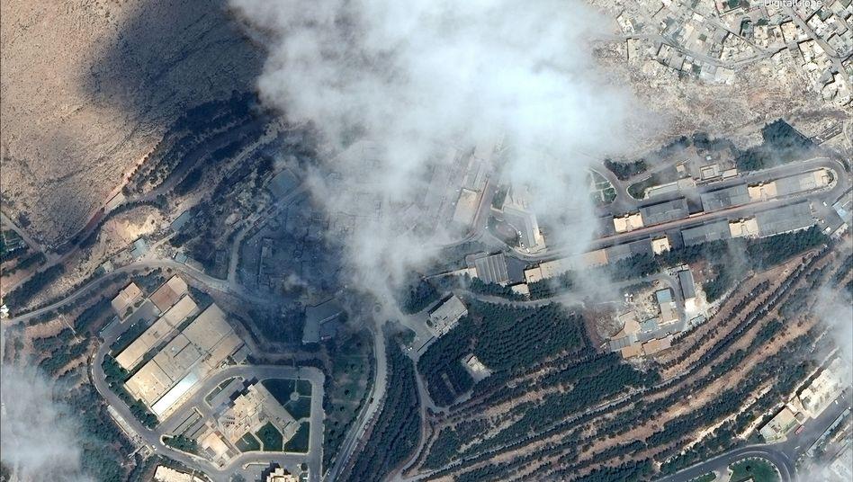 Beschädigtes mutmaßliches Chemielabor in Syrien