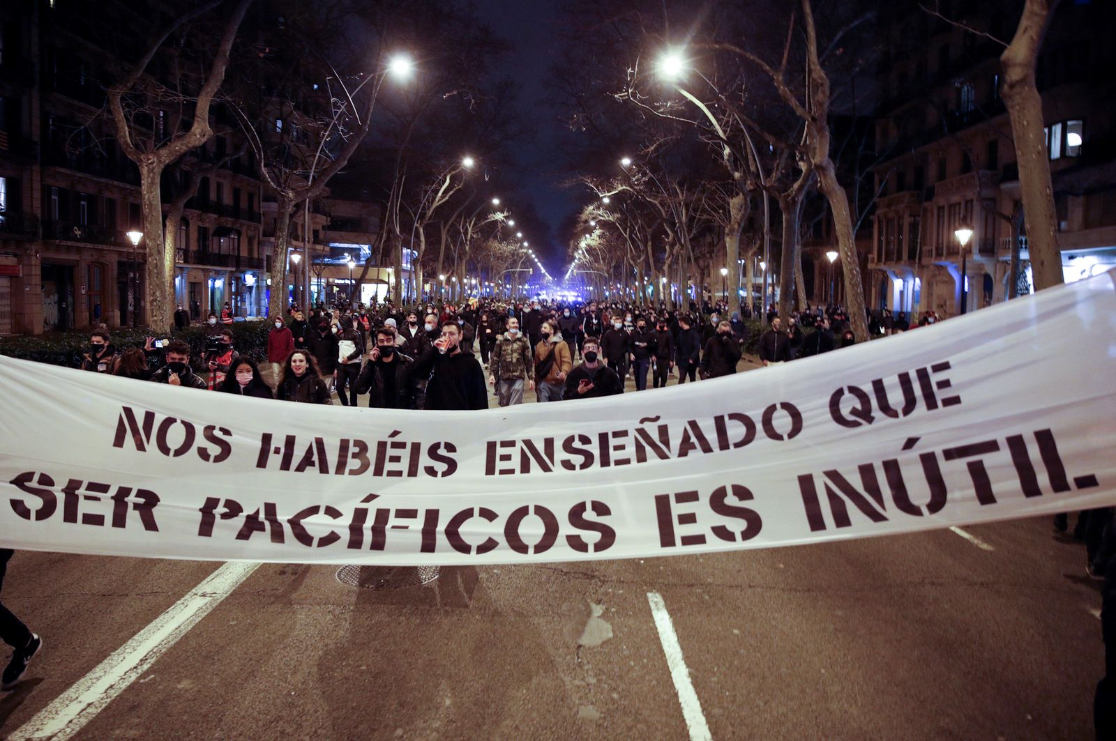 Protests in Barcelona against Pablo Hasel imprisonment, Spain - 21 Feb 2021