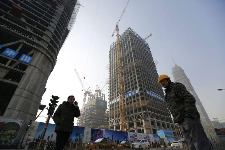 Baustelle im Zentrum Pekings: Zeichen stehen auf Schrumpfung