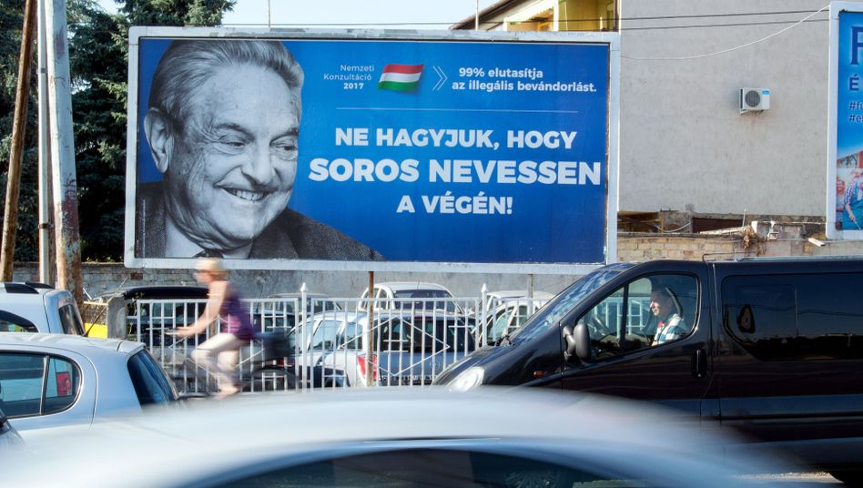 Anti-Soros-Plakatkampagne (hier in der Stadt Szekesfehervar)