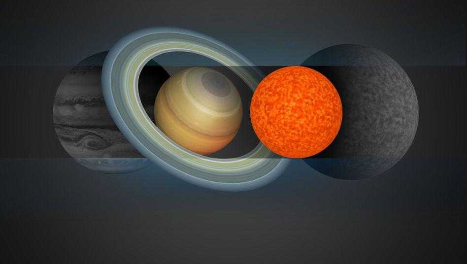 Größenvergleich von Jupiter, Saturn, Ministern EBLM J0555-57Ab (rot) und Trappist-1A