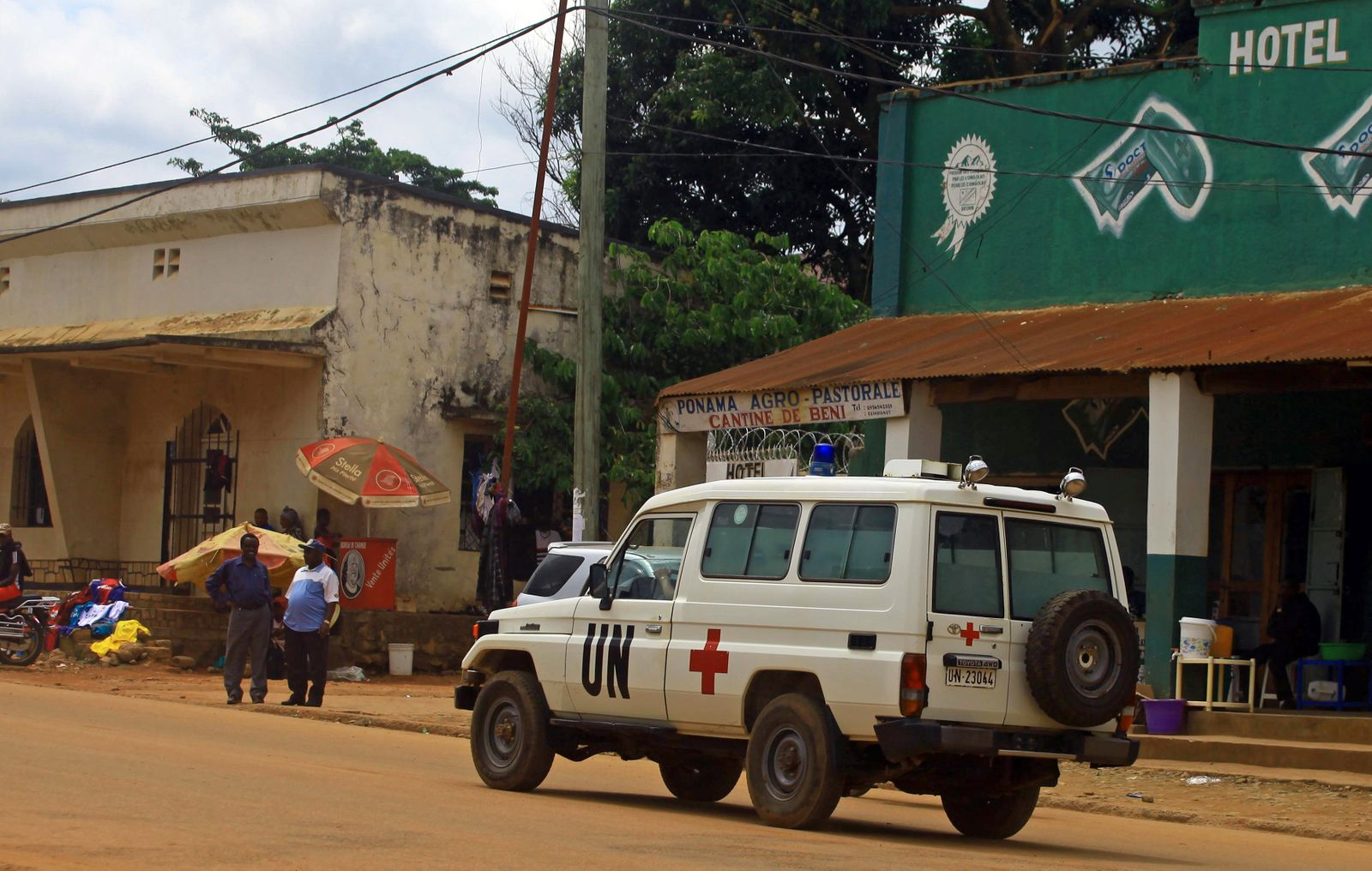 A United Nations ambulance drives along a street in Beni in North Kivu province