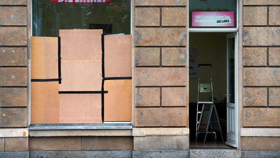 Linkspartei-Büro in Freital (Sachsen) nach Anschlag am 21.09.2015