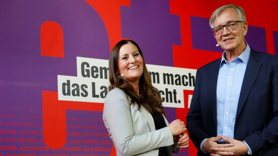 Linken-Spitzenkandidaten Janine Wissler und Dietmar Bartsch