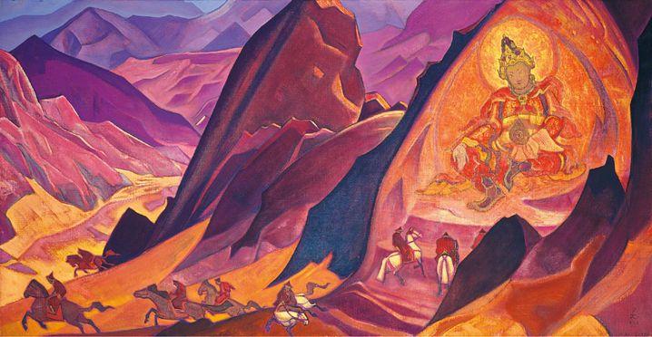 """Roerich-Bild """"The Order of Rigden Jyepo"""" mit ähnlicher Statue"""