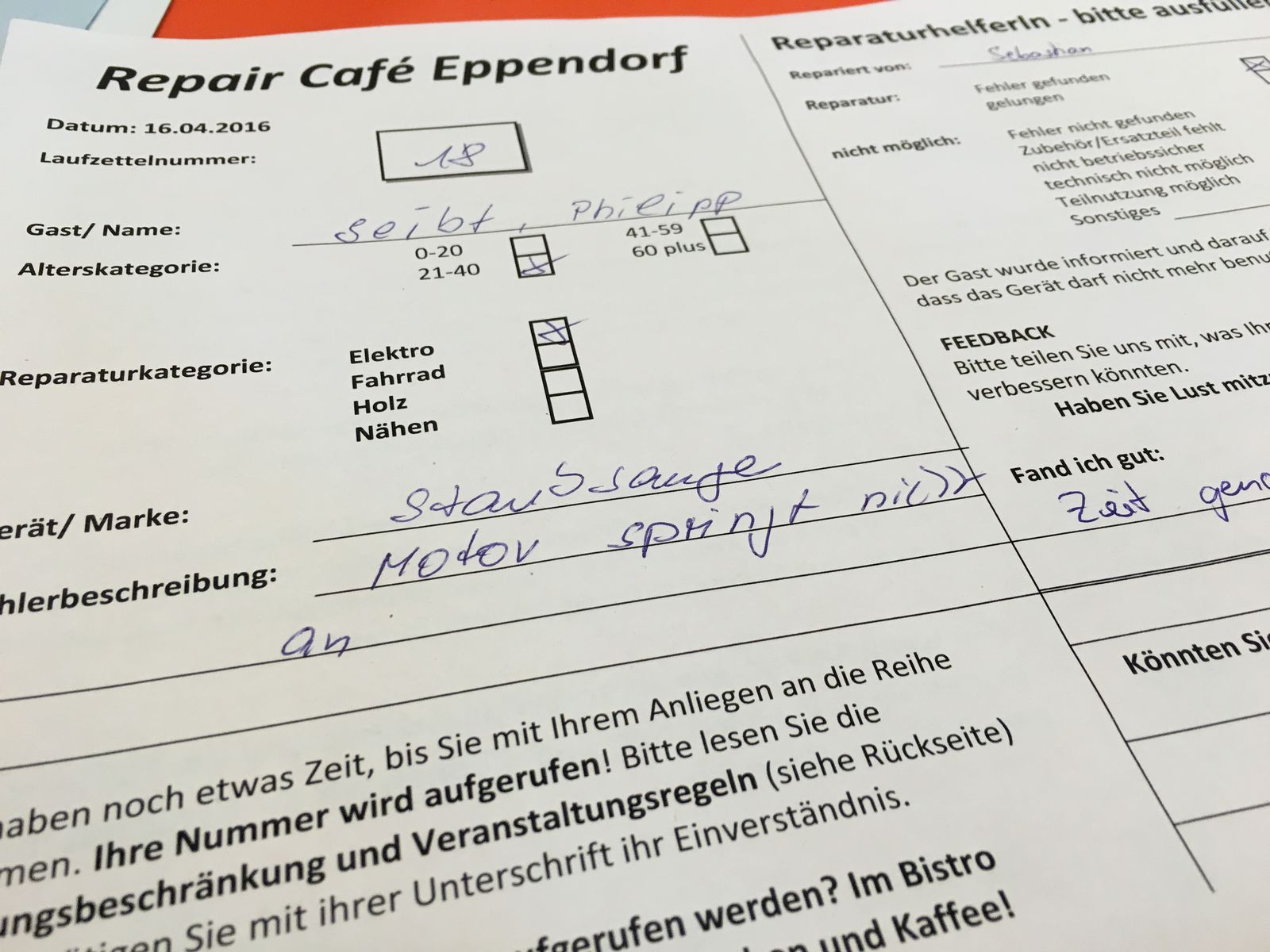EINMALIGE VERWENDUNG Repair Café