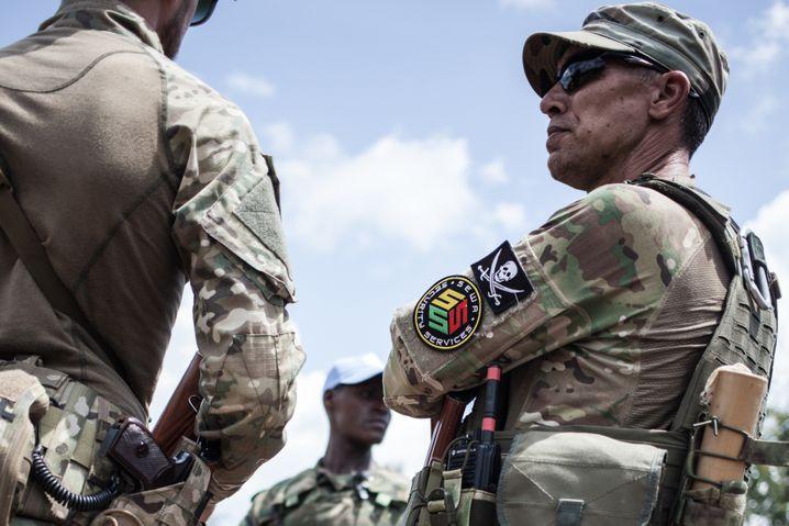 Leibwachen des zentralafrikanischen Präsidenten Touadera: Mitarbeiter der russischen Sicherheitsfirma Sewa Security