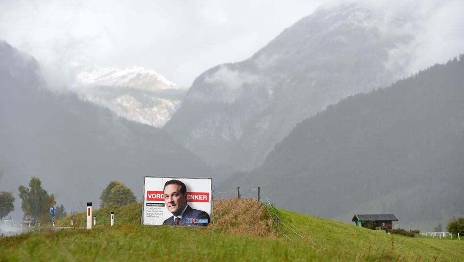 A campaign poster featuring Heinz-Christian Strache
