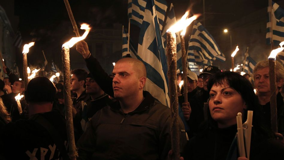 Supporters of the Greek right-wing extremist group Golden Dawn at a gathering in Athens on Saturday.