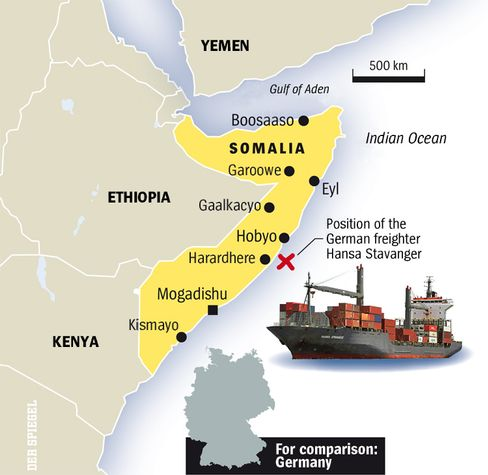 Map: Pirate activity off Somalia.