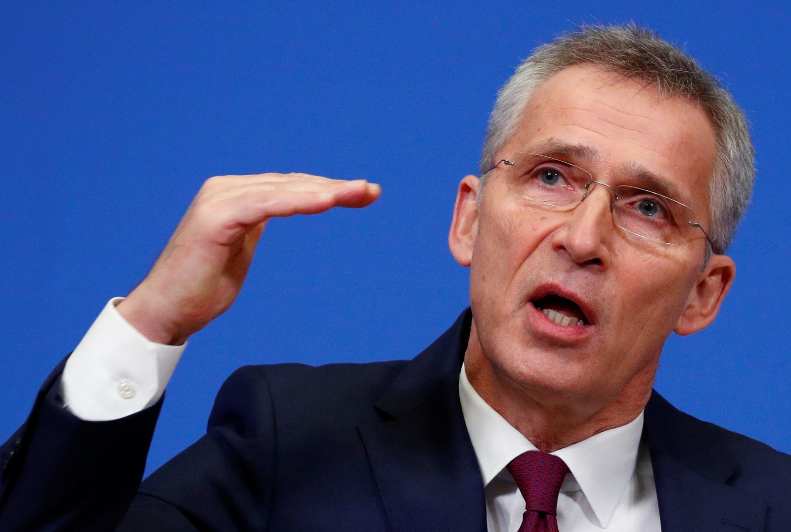 NATO Secretary General Jens Stoltenberg holds a news conference at the Alliance headquarters in Brussels
