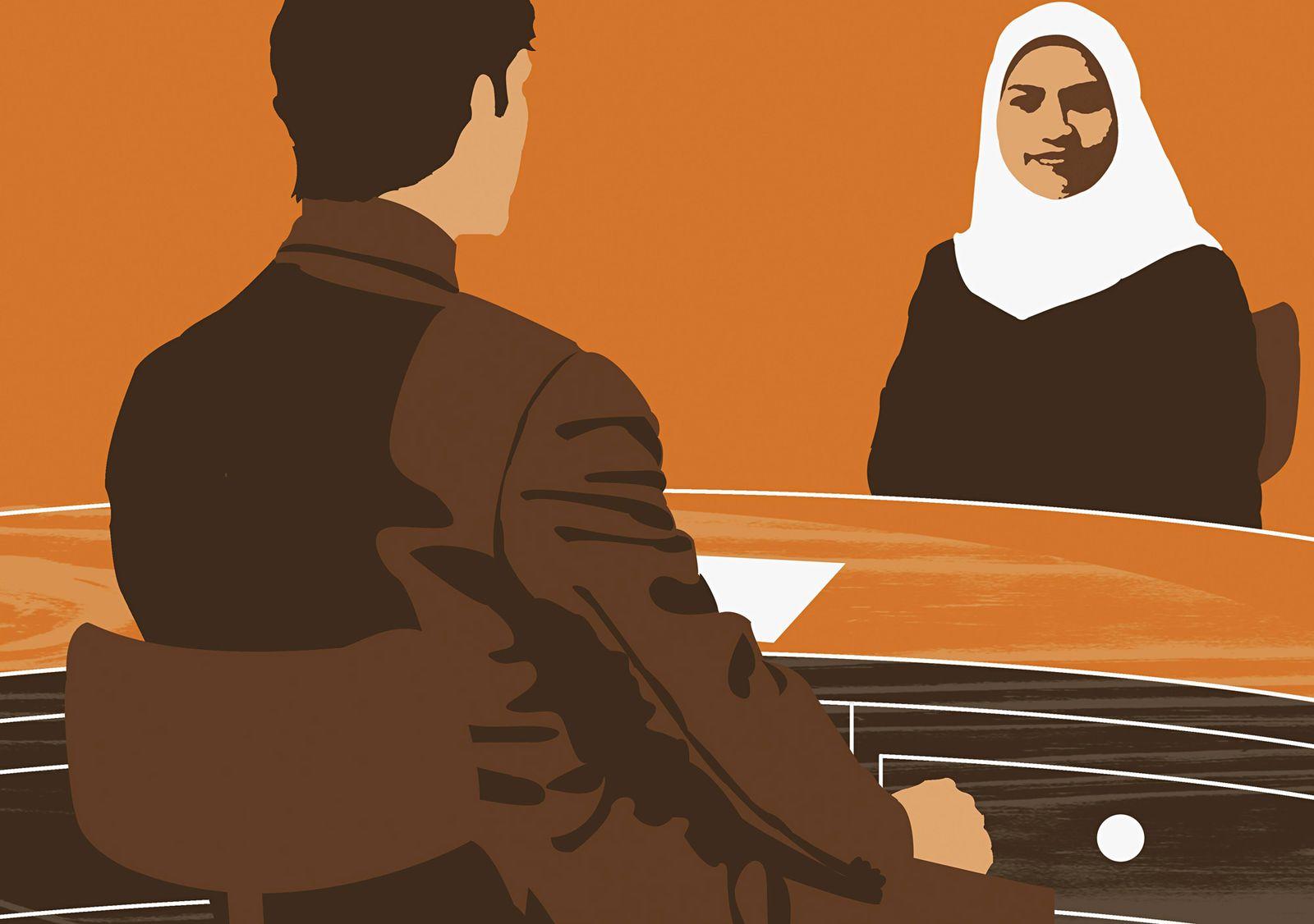 EINMALIGE VERWENDUNG Muslimin/ Vorstellungsgespräch