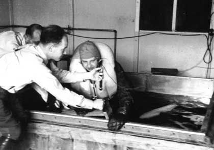 """Doctors"" at Dachau conducted experiments on prisoners. Here, a prisoner is submerged in a tub of ice water for hours on end."
