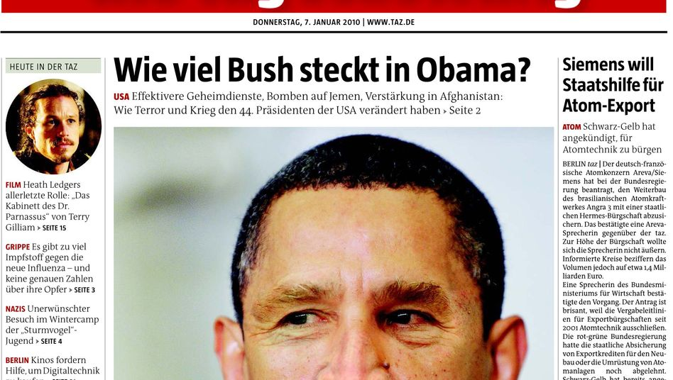 """Germany's left-wing Die Tageszeitung newspaper says US President Barack Obama is no """"Prince of Peace."""""""
