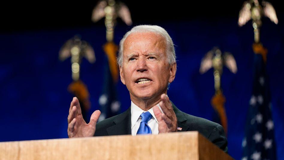 Joe Biden hielt seine Rede in einer Halle in seiner Heimatstadt Wilmington in Delaware, nur wenige Zuschauer waren zugelassen