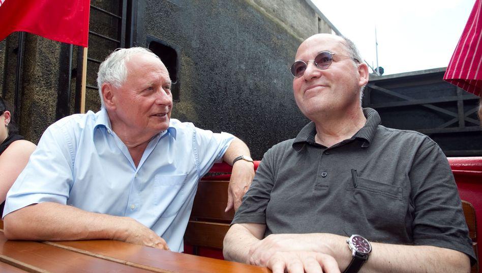 Linken-Politiker Lafontaine und Gysi: Männer-Bootstour auf der Saar